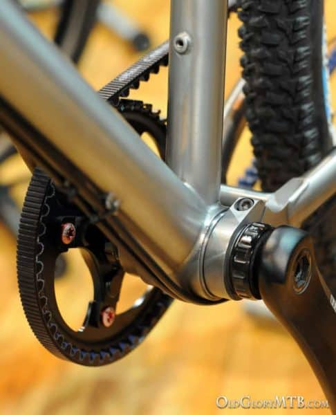 the suspension pivots at the bottom bracket which allows the use of belt drive very easily